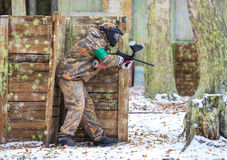 First snow and paintball game Royalty Free Stock Images