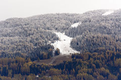 First snow on Piste de l& x27;Ours Royalty Free Stock Image
