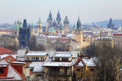 First Snow in Prague City, Czech Republic Royalty Free Stock Images