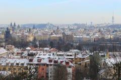 First Snow in Prague City, Czech Republic Royalty Free Stock Photo