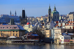 First Snow in Prague City, Czech Republic Royalty Free Stock Photography