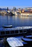 First Snow in Prague City, Czech Republic Stock Images