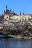 First Snow in Prague City with gothic Castle, Czech Republic Royalty Free Stock Photos