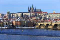 First Snow in Prague City with gothic Castle, Czech Republic Stock Image
