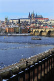 First Snow in Prague City with gothic Castle, Czech Republic Stock Photography