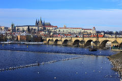 First Snow in Prague City with gothic Castle, Czech Republic Royalty Free Stock Photo