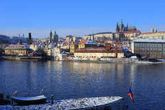 First Snow in Prague City with gothic Castle, Czech Republic Royalty Free Stock Image