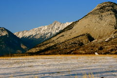 First snow in rockies. Jasper national park, alberta, canada, sunny weather, first snow Royalty Free Stock Photography