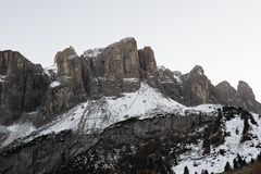 First snow on Sella Stock Photos