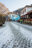 First snow in the smallest town in Bulgaria - Melnik Royalty Free Stock Images