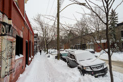 First snow storm of the season hits Montreal, Canada. Royalty Free Stock Photos