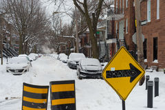 First snow storm of the season hits Montreal, Canada. Stock Photos