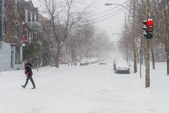 First snow storm of the season hits Montreal, Canada. royalty free stock photo