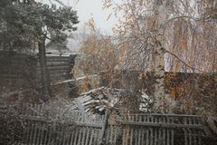 The first snow. Sviyazhsk island, Tatarstan, Russian Federation Royalty Free Stock Image