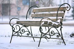 First snow of winter bench Royalty Free Stock Photo