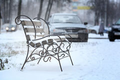 First snow of winter bench Stock Image