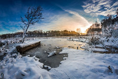 First snow in winter on the lake Royalty Free Stock Photo