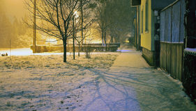 The first snow this winter in the street in a small village in Serbia. Beautiful night shining blanket of snow and branches of trees Stock Images