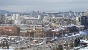 Sofia, Bulgaria after the first snow for the year 2016/2017. Snowy winter panorama of Sofia, Bulgaria Stock Image