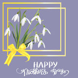 The first snowdrops Galanthus with Happy Mother s Day gift card. Stock Photography