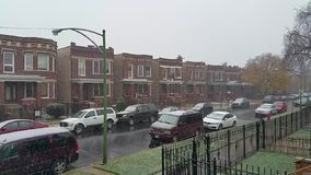 First snowfall of the season stock video footage