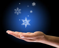 First snowflake. Snow falling on female hand Royalty Free Stock Image