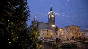 Snowflakes on the Duomo of Bussolengo at Christmas 2017 stock footage