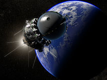 The first spaceship. Russian first spaceship Vostok on thу Earth background Royalty Free Stock Photos