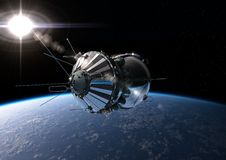 The first spaceship at the orbit. Spaceship Vostok-1 at the Earth orbit Stock Images