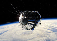 The first spaceship at the orbit. Spaceship Vostok at the Earth orbit Stock Photography
