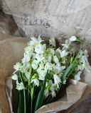 The first spring flowers in paper. First fresh spring flowers are white bells bouquet wrapped in paper Royalty Free Stock Photography