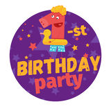 First or 1-st birthday party greeting card or postcard. Cartoon Royalty Free Stock Image