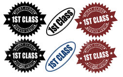 First 1st Class rubber stamps. (grunge and non grunge). Isolated on white background Royalty Free Stock Photography