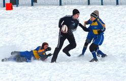 The first starts. 2 19 2012 Moscow, Marino. Tournament of the Moscow school League of Rugby football The first starts Royalty Free Stock Photo