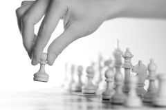 The first step. A Chess-Army is standing on a board Royalty Free Stock Photo