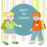First step. Boy and girl going to school Stock Images
