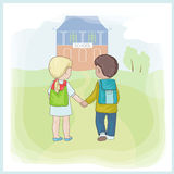 First step. Boy and girl  in school Stock Image