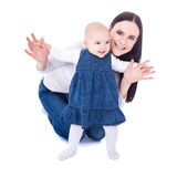 First step concept - young mother with baby girl learning to wal Royalty Free Stock Images