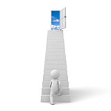 First step to success concept. 3d man stepping up to open door to the sky over white background Stock Images