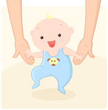 First steps. Cute baby boy taking first steps with help of his mom. Vector illustration Royalty Free Stock Photos