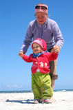 First steps. Fun and science of walking on beach stock photography
