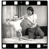 First steps. In old film Stock Photo