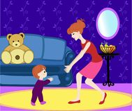 First steps. Baby and mother. Vector illustration. In cartoon style Stock Photography
