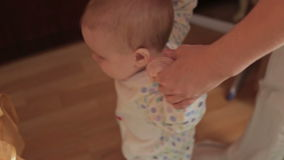 The first steps of baby stock footage