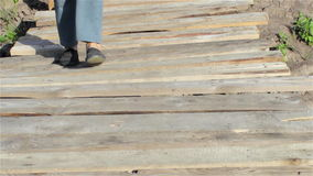 First steps on the bridge stock footage