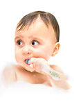 First steps in brushing your teeth are not easy. Stock Photos