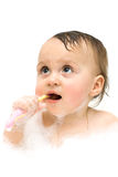 First steps in brushing your teeth are not easy. Royalty Free Stock Photo