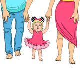 The first steps of the child. Support for parents. Object on white background vector illustration. The first steps of the child. Support for parents. A girl in a Royalty Free Stock Photography