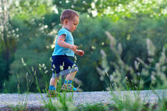 First steps of cute baby boy among greens. First steps of cute baby boy on footpath among greens Royalty Free Stock Image