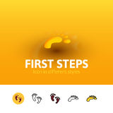 First steps icon in different style. First steps color icon, vector symbol in flat, outline and isometric style isolated on blur background Stock Image